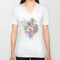 orchid V-neck T-shirts featuring Orchid by Bea González