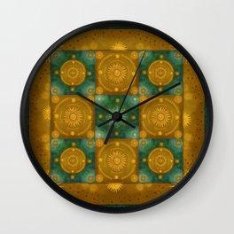 """Moroccan chess Celestial & Ocher Pattern"" Wall Clock"