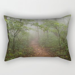 Adventure Ahead - Foggy Forest Digital Nature Photography Rectangular Pillow