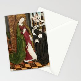 Kneeling in Adoration before Saint Agnes Stationery Cards