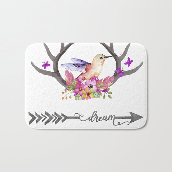 Hummingbird on floral Antlers and Dream arrow Bath Mat