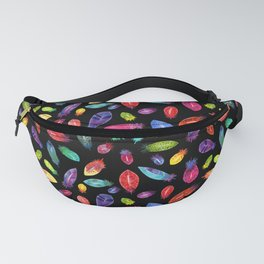 Rainbow Watercolor Feather Pattern on Black Fanny Pack