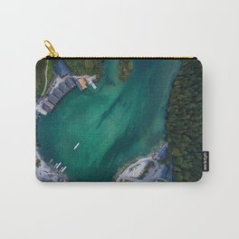 königssee waterfall alps bayern forrest drone aerial shot nature boat mountains panorama vertical Carry-All Pouch