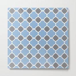 Grey and Airy Blue Quatrefoil Metal Print