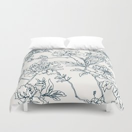 Navy and Cream Vintage Chinoiserie Botanical Floral Toile Wallpaper Pattern Duvet Cover