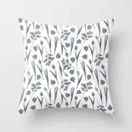 Modern botanical gray mauve teal floral pattern Throw Pillow