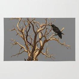 RAVEN ON DEAD TREE GREY ART Rug
