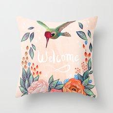 Welcome Hummingbird Throw Pillow