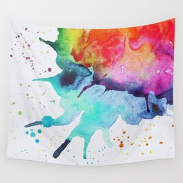 Rainbow Chakra Watercolor Splash Wall Tapestry