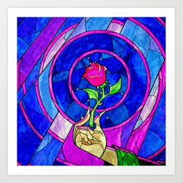 Beauty And The Beast Red Rose Flower Art Print