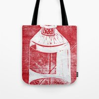 whisky Tote Bags featuring Ol' Whisky Bottle by Shane Haarer