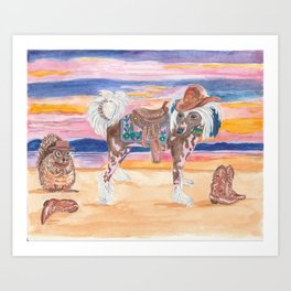 Hairless Chinese Crested pony with saddle cowboy hat boots squirrel dog art painting watercolor west Art Print