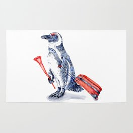 Penguin with a Suitcase and a Vuvuzela Rug
