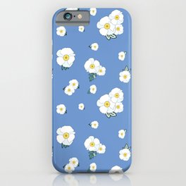 Morning Glories Pattern with Blue Background iPhone Case
