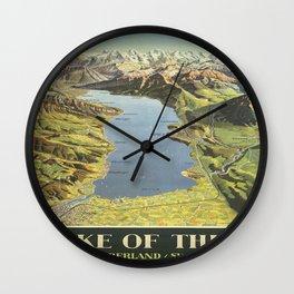 Vintage poster - Lake of Thun Wall Clock