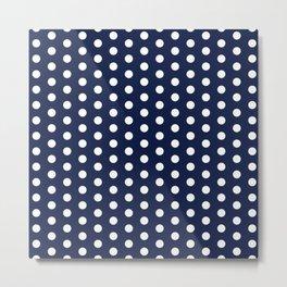 Navy Blue Polka Dot Metal Print