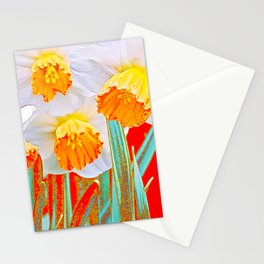 GOLDEN SPRING DAFFODILS RED GARDEN Stationery Cards