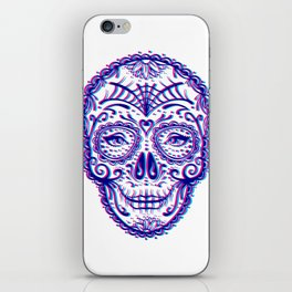 Sugar Skull (Calavera) Chromatic Aberration - Cyan Magenta iPhone Skin