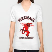 whisky V-neck T-shirts featuring Firemaul Whisky by Ant Atomic