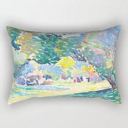Watercolor Landscape by Henri-Edmond Cross 1904 Neo-Impressionism Pointillism Watercolor Rectangular Pillow