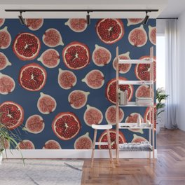 Figs - Pomegranate - blue Wall Mural