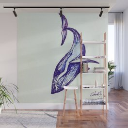 Whale Illustration Wall Mural