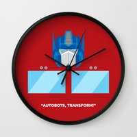 optimus prime Wall Clocks featuring Optimus Prime by IlPizza