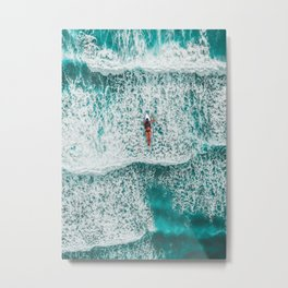 Girl Surfing Metal Print