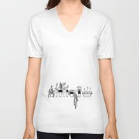 plants V-neck T-shirts featuring Plants by One Fig Blossom Studio