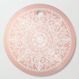 White Mandala on Rose Gold Cutting Board