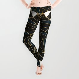 New Art Deco Geometric Pattern - Emerald green and Gold Leggings