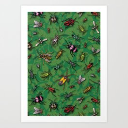 Bugs & Insects on Green Floral Background Art Print