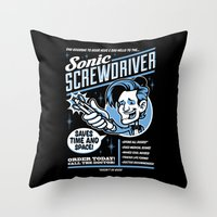 sonic Throw Pillows featuring Sonic Screwdriver by harebrained