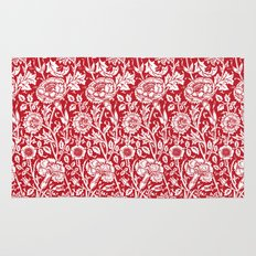 "William Morris Floral Pattern | ""Pink and Rose"" in Red and White Rug"