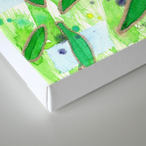 Modern Fresh Leaves Pattern in High Format Canvas Print