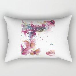 Girl with Purple Butterflies Rectangular Pillow