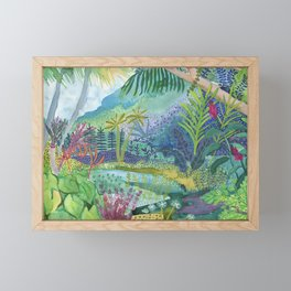 Jungle Paradise Watercolor Framed Mini Art Print