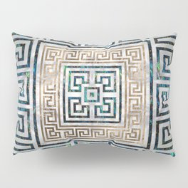 Greek Key Ornament - Greek Meander -Abalone and gold Pillow Sham