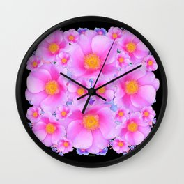 Black Art Design With Pink Roses Wall Clock