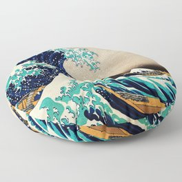 The Great Wave Off Kanagawa Traditional Japanese Landscape Floor Pillow