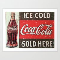 coke Art Prints featuring Coke by R&R.
