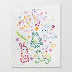 Picnic Pals minis embroidery Canvas Print
