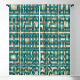 Beaded breeze blocks design pattern turquoise & cream Blackout Curtain