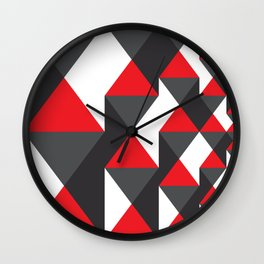 Geometric Pattern #20 (red triangles) Wall Clock