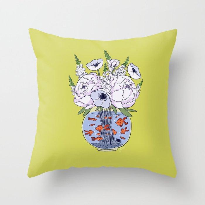 Goldfish Flowers Throw Pillow
