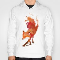 art deco Hoodies featuring Vulpes vulpes by Robert Farkas