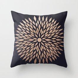 Rose Gold Flower Throw Pillow
