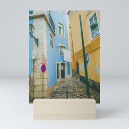 Colorful Blue and Yellow Wall in Lisboa Mini Art Print