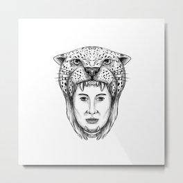 Amazon Warrior Jaguar Headdress Tattoo Metal Print