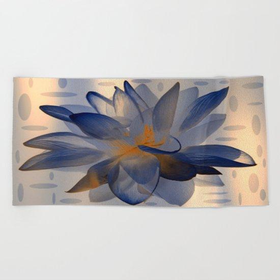 Midnight Blue Polka Dot Floral Abstract Beach Towel